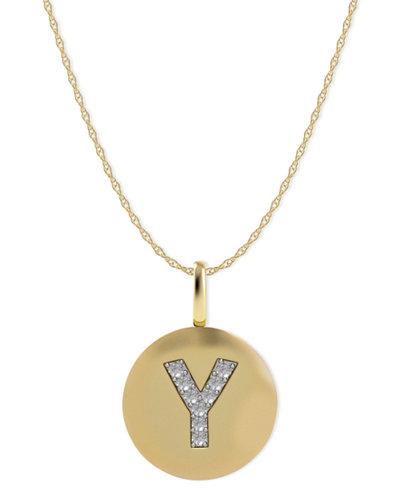14k Gold Necklace, Diamond Accent Letter Y Disk Pendant