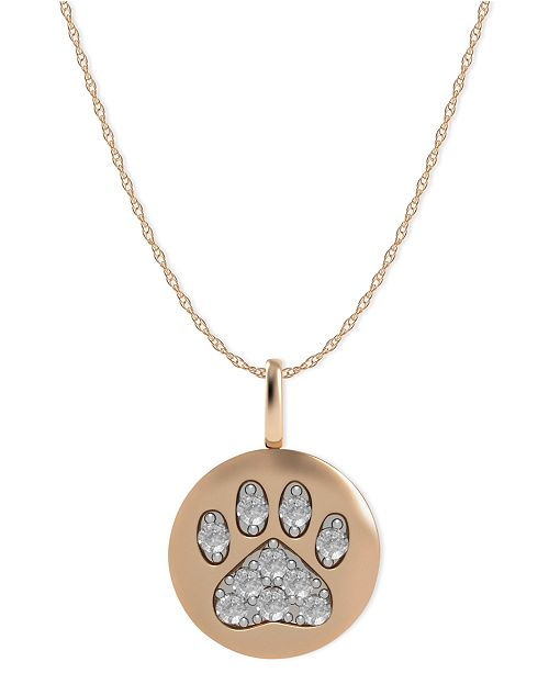Macy's 14k Rose Gold Necklace, Diamond Accent Paw Disk Pendant