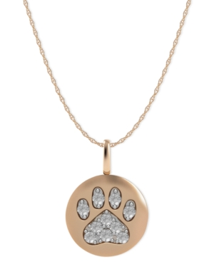 14k Rose Gold Necklace, Diamond Accent Paw Disk Pendant