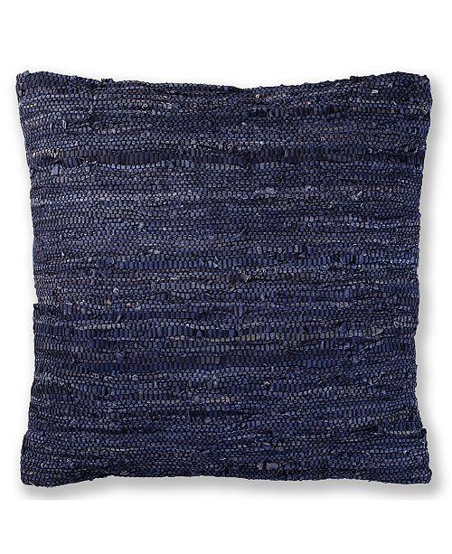 "St. Croix Matador Leather Chindi Pillow, 27"" x 27"""