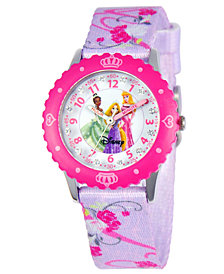 Disney Watch, Kid's Glitz Princess Time Teacher Purple Printed Nylon Strap 31mm W000386