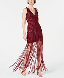 Hand-Beaded Fringe Dress
