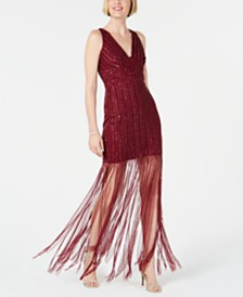 Adrianna Papell Hand-Beaded Fringe Dress