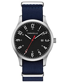 Men's Blue Nylon Strap Watch 40mm Box Set