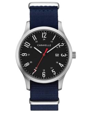 Designed by Bulova Men's Blue Nylon Strap Watch 40mm Box Set