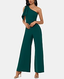 Betsy & Adam One-Shoulder Bow Jumpsuit