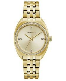 Caravelle Designed by Bulova Women's Gold-Tone Stainless Steel Bracelet Watch 32mm