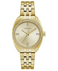 Caravelle Designed by Bulova Women's Gold-Tone Stainless Steel Bracelet Watch 32mm