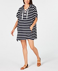 Striped Lace-Up Hooded Cover-Up Dress