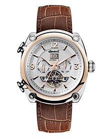 Michigan Automatic with Two-Tone Stainless Steel and Rose Gold IP Case with Silver Dial and Brown Croco Embossed Leather Strap