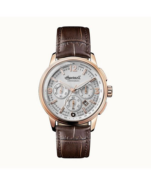 Ingersoll Regent Chronograph with Rose Gold IP Case, Silver Dial and Brown Croco Embossed Leather Strap