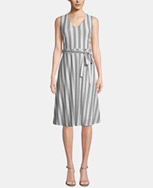 ECI Striped Belted-Waist Dress