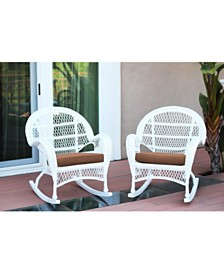 Jeco Santa Maria Wicker Rocker Chair with Cushion - Set of 4