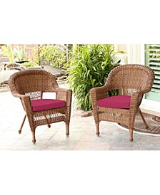 Wicker Chair with Cushion - Set of 2