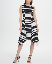 DKNY Stripe Print Handkerchief Hem Dress