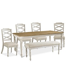 Larson Light Dining 6-Pc. Set (Expandable Table, 4 Side Chairs & Bench)