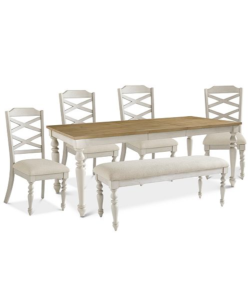 Furniture Larson Light Dining Furniture 6 Pc Set Expandable
