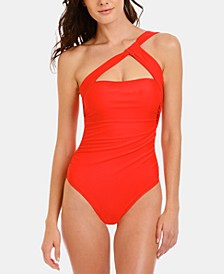 Solid Ruched One-Shoulder One-Piece Swimsuit