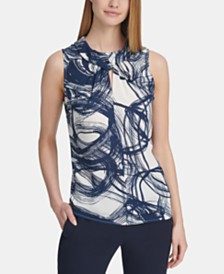 DKNY Printed Twist-Neck Keyhole Top