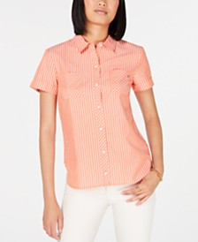 Tommy Hilfiger Cotton Striped Camp Shirt, Created for Macy's