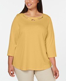 Karen Scott Plus Size 3/4-Sleeve Cutout Top, Created for Macy's