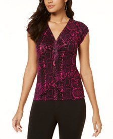 Thalia Sodi Printed Ruched V-Neck Top, Created for Macy's