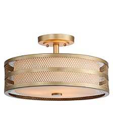 "Greta 3 Light 15.75""D Veil Semi Flush"
