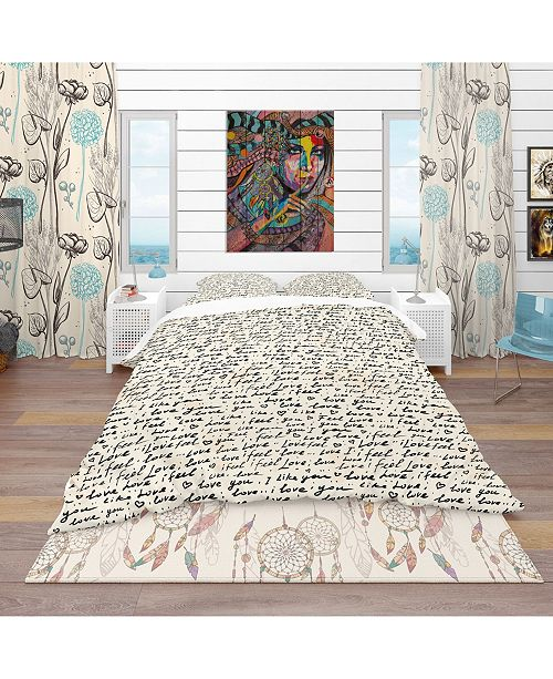 Design Art Designart 'I Feel Love Text Pattern' Eclectic Duvet Cover Set - King