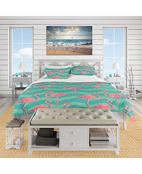 Design Art Designart 'Pink Flamingo Birds' Tropical Duvet Cover Set - King