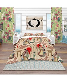 Designart 'Japanese Geishas and Dragons' Oriental Duvet Cover Set - Queen