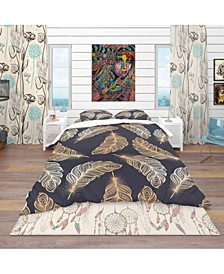 Designart 'Pattern With Feathers' Southwestern Duvet Cover Set - King