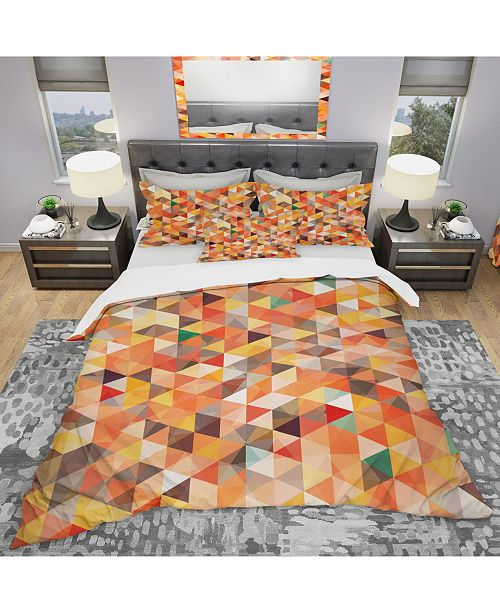 Design Art Designart 'Abstract Triangle' Modern Duvet Cover Set - Queen