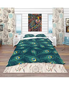 Designart 'Pattern Of Peacock Feathers' Modern and Contemporary Duvet Cover Set - Queen