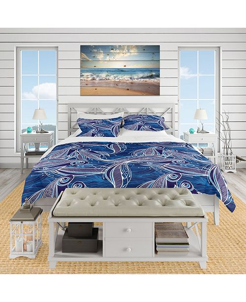 Design Art Designart 'Blue Pattern With Fantastic Fishes' Nautical and Coastal Duvet Cover Set - Queen
