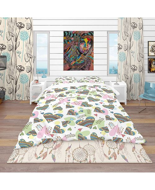 Design Art Designart 'Pattern Of Drawing Doodle Hearts' Modern and Contemporary Duvet Cover Set - Twin