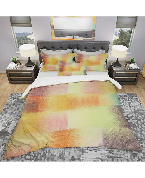 Design Art Designart 'Grunge Striped Quilt Colorful Abstract' Modern and Contemporary Duvet Cover Set - King