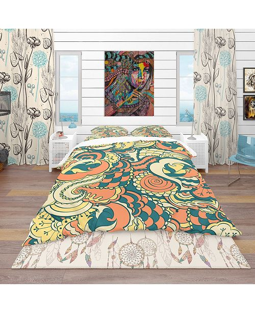 Design Art Designart 'Floral Pattern Background' Bohemian and Eclectic Duvet Cover Set - Twin