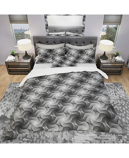 Design Art Designart 'Monochrome Hexagon Geometric Pattern' Modern and Contemporary Duvet Cover Set - Twin
