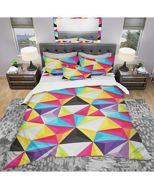 Design Art Designart 'Bright Triangle' Modern Duvet Cover Set - Queen
