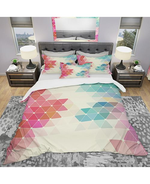 Design Art Designart 'Colorful Abstract Geometric Pattern' Modern Duvet Cover Set - Twin