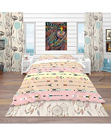 Designart 'Tribal Arrows Boho Pattern' Southwestern Duvet Cover Set - Queen