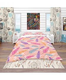 Designart 'Colorful Feathers Pattern' Southwestern Duvet Cover Set - Queen