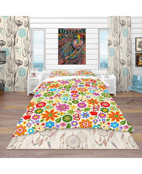 Design Art Designart 'Retro Flower Pattern' Bohemian and Eclectic Duvet Cover Set - Twin
