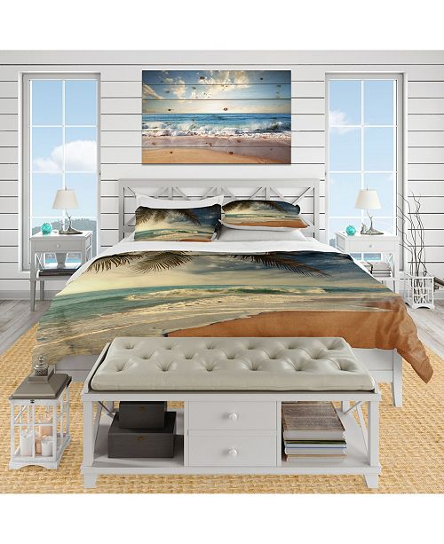 Design Art Designart 'Beautiful Tropical Beach With Palms' Beach Duvet Cover Set - King