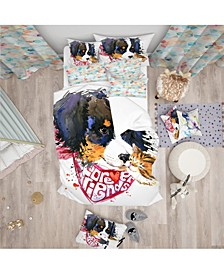 Designart 'Dog And Cat Friends Forever' Modern and Contemporary Duvet Cover Set - Queen