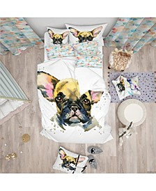 Designart 'Watercolor Brown Dog Illustration' Modern and Contemporary Duvet Cover Set - Twin