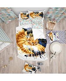 Designart 'Cute Kitten Graphical Illustration' Modern and Contemporary Duvet Cover Set - Queen