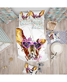Designart 'Brown Cute Dog With Heart Glasses' Modern and Contemporary Duvet Cover Set - Queen