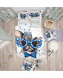 Designart 'Cute French Bulldog With Glasses' Modern and Contemporary Duvet Cover Set - Queen
