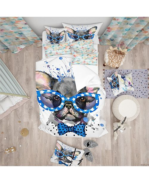 Design Art Designart 'Cute French Bulldog With Glasses' Modern and Contemporary Duvet Cover Set - Queen